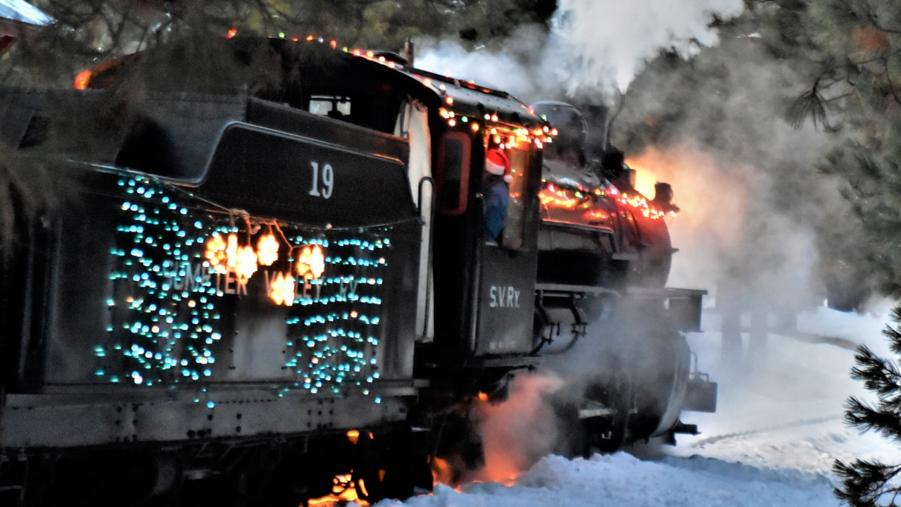 Holiday train with festive lights