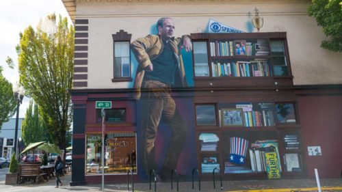 Oregon author Ken Kesey is memorialized with a mural in Springfield and a statue in Eugene. (Photo by Joni Kabana)