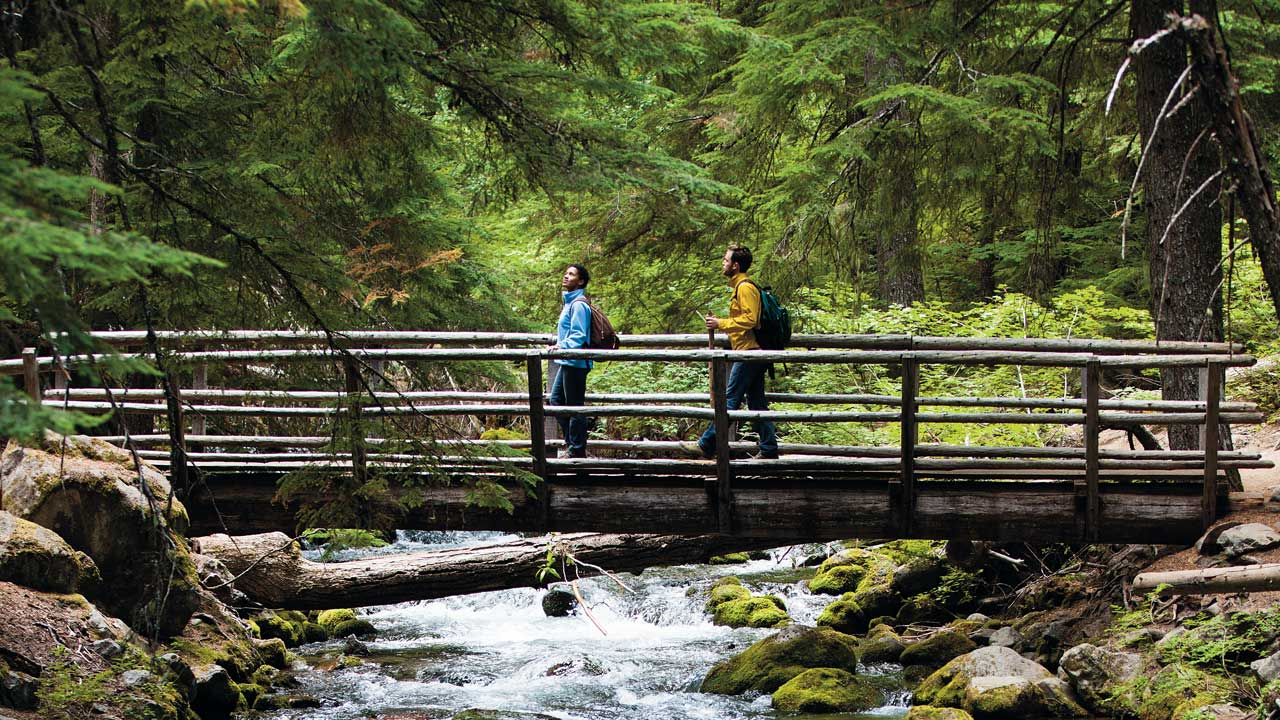 Two people walking over a bridge on a trail.