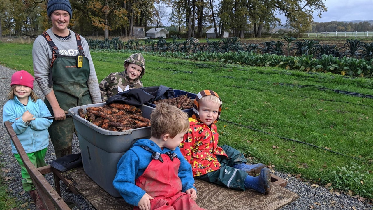 Family helping out on a farm collecting carrots