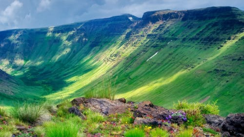 Landscape photo of Steens mountain covered in greenery