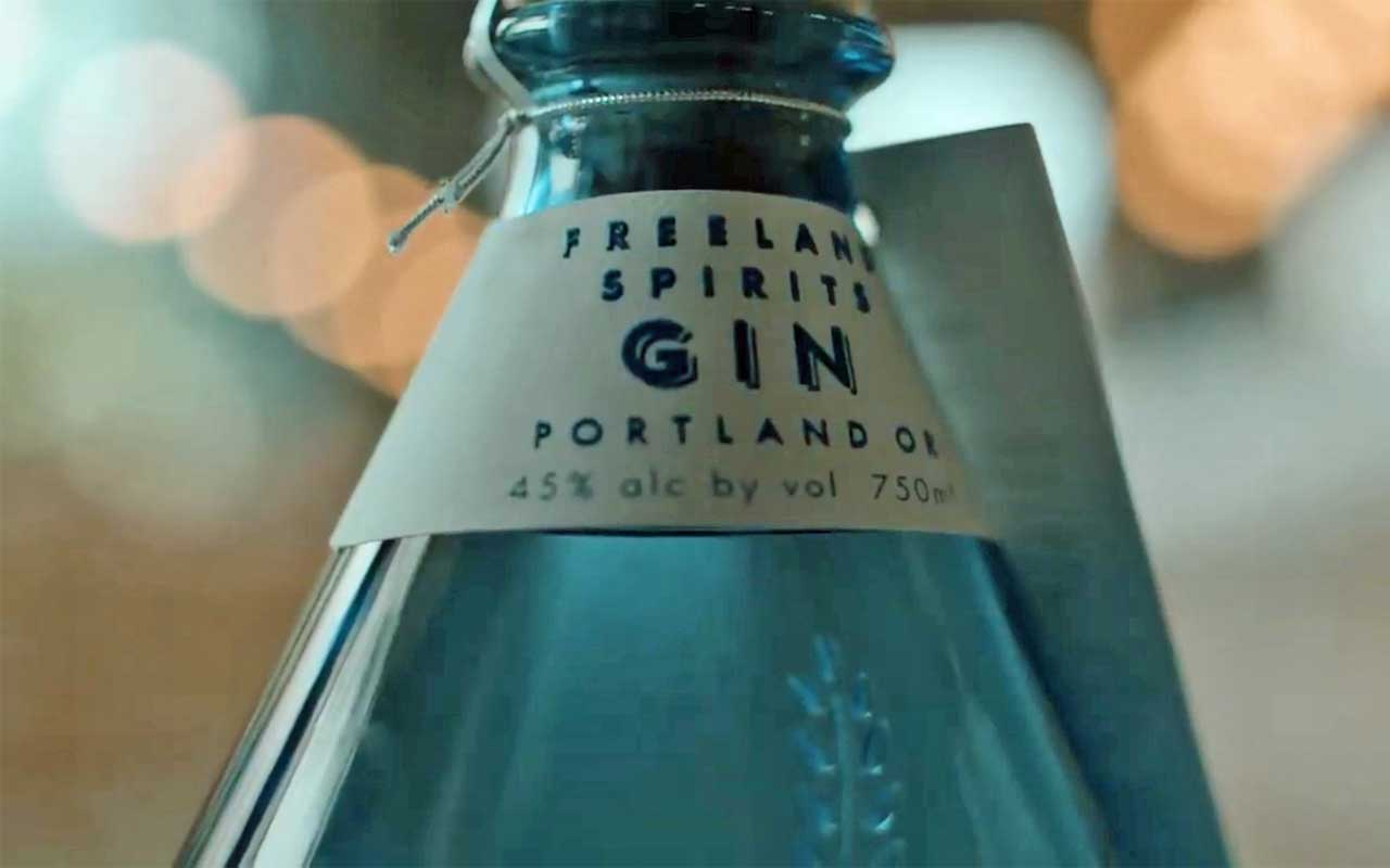 Freeland Spirits' gin is in an iconic blue bottle.