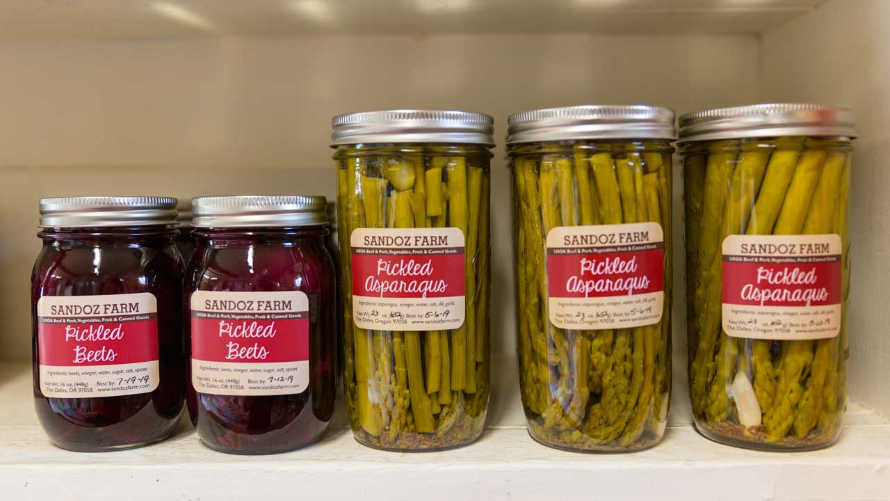 Sandoz Farm pickled products include beets and asparagus.