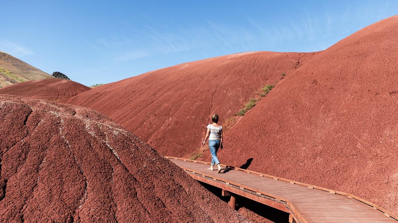 A person walks on a boardwalk through the red mounds of Painted Hills.