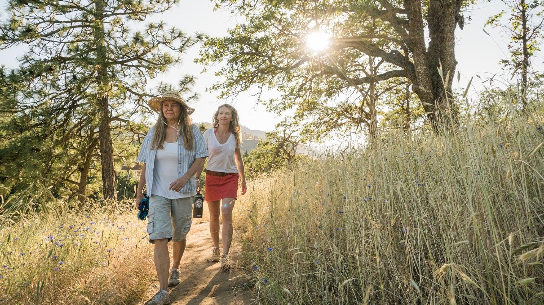 Two women walk through tall grass with sun at their backs