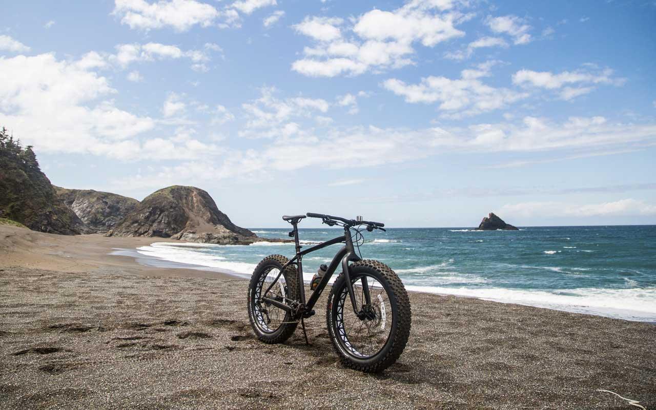 A fat-tire bike sits at the coastline.