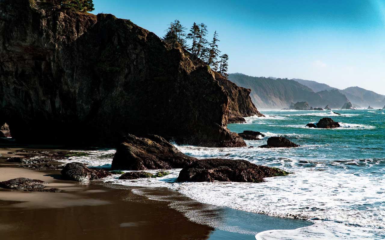 A view from Secret Beach behind a cape.