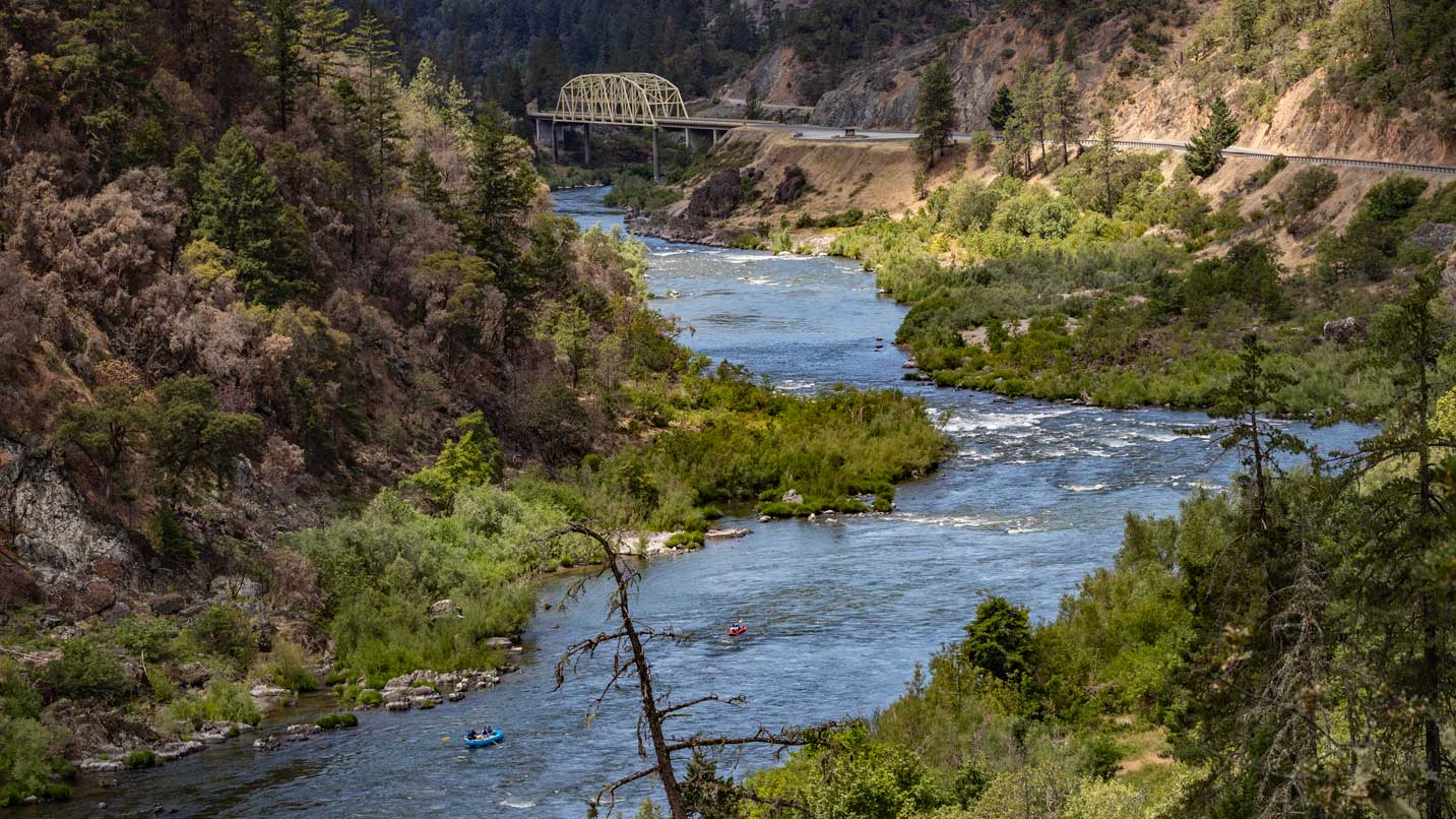 From Hellgate Canyon is a view of the Rogue River and a historic bridge.