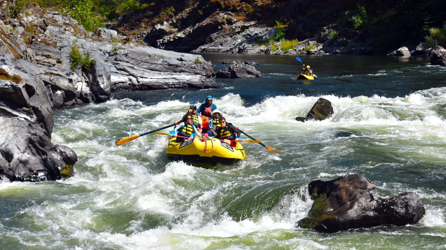 Excited rafters paddle down the Rogue River.