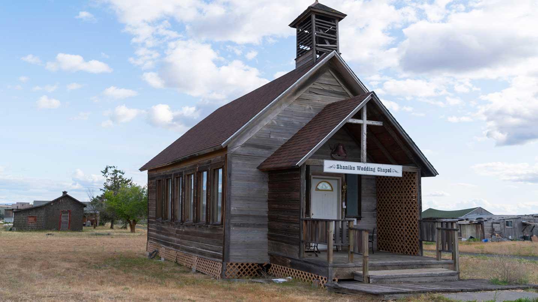 An aged wedding chapel bears the name of Shaniko.