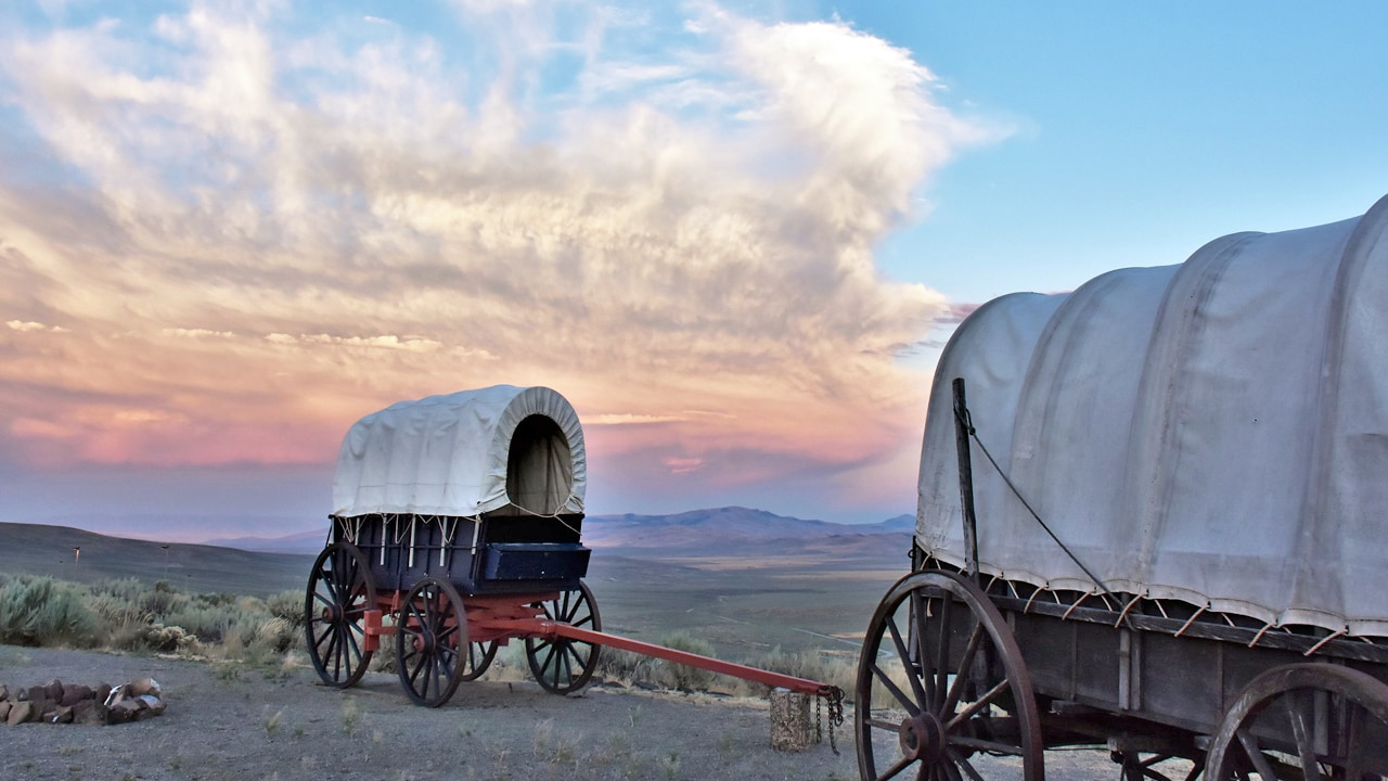 Replicas of Oregon Trail wagons at National Historic Oregon Trail Interpretive Center in Baker City.