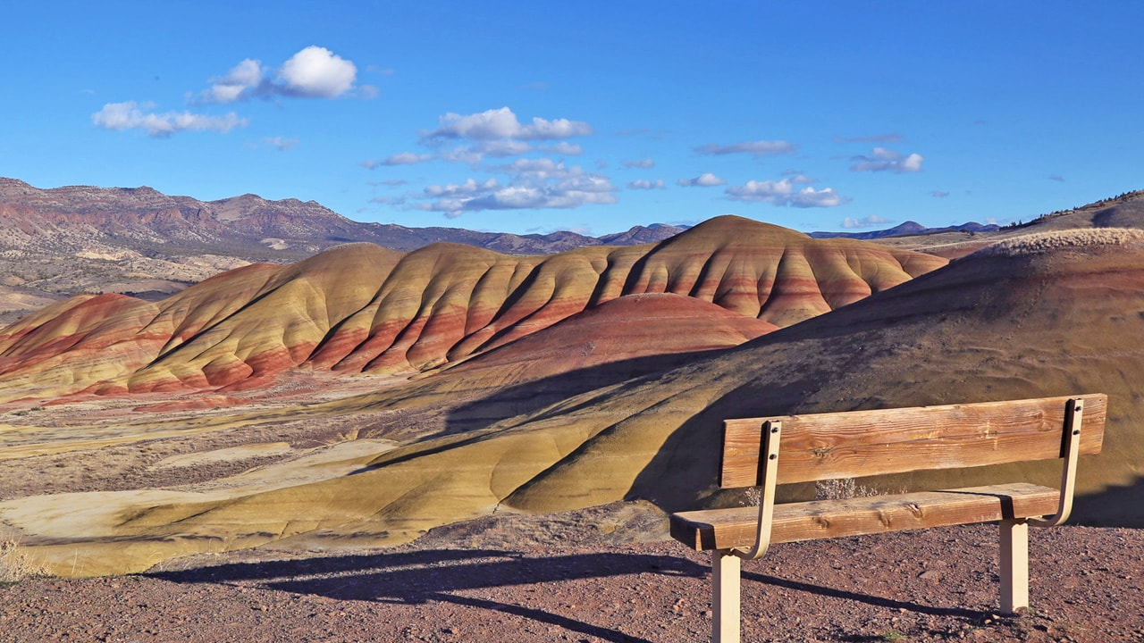 You can sit on a bench overlooking the Painted Hills.