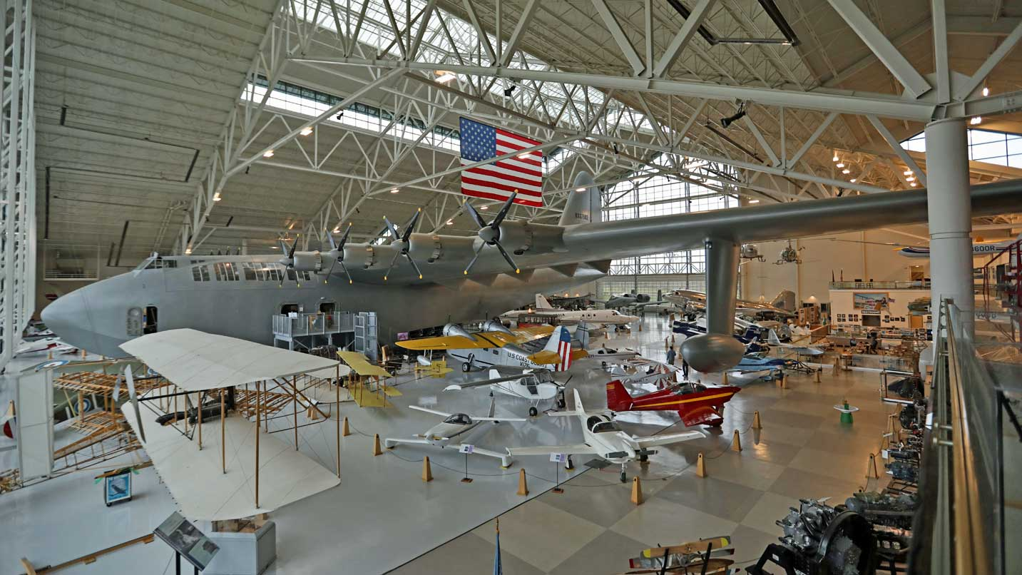 The famed Spruce Goose rests inside the Evergreen museum.