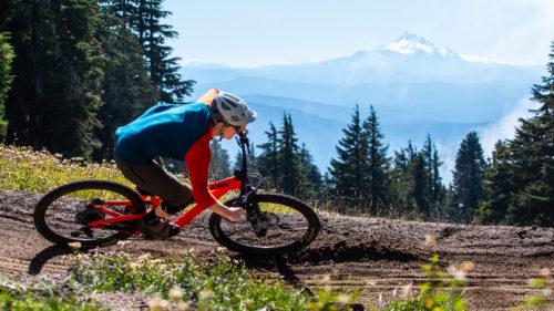Biking through the berm at Timberline Lodge & Bike Park.