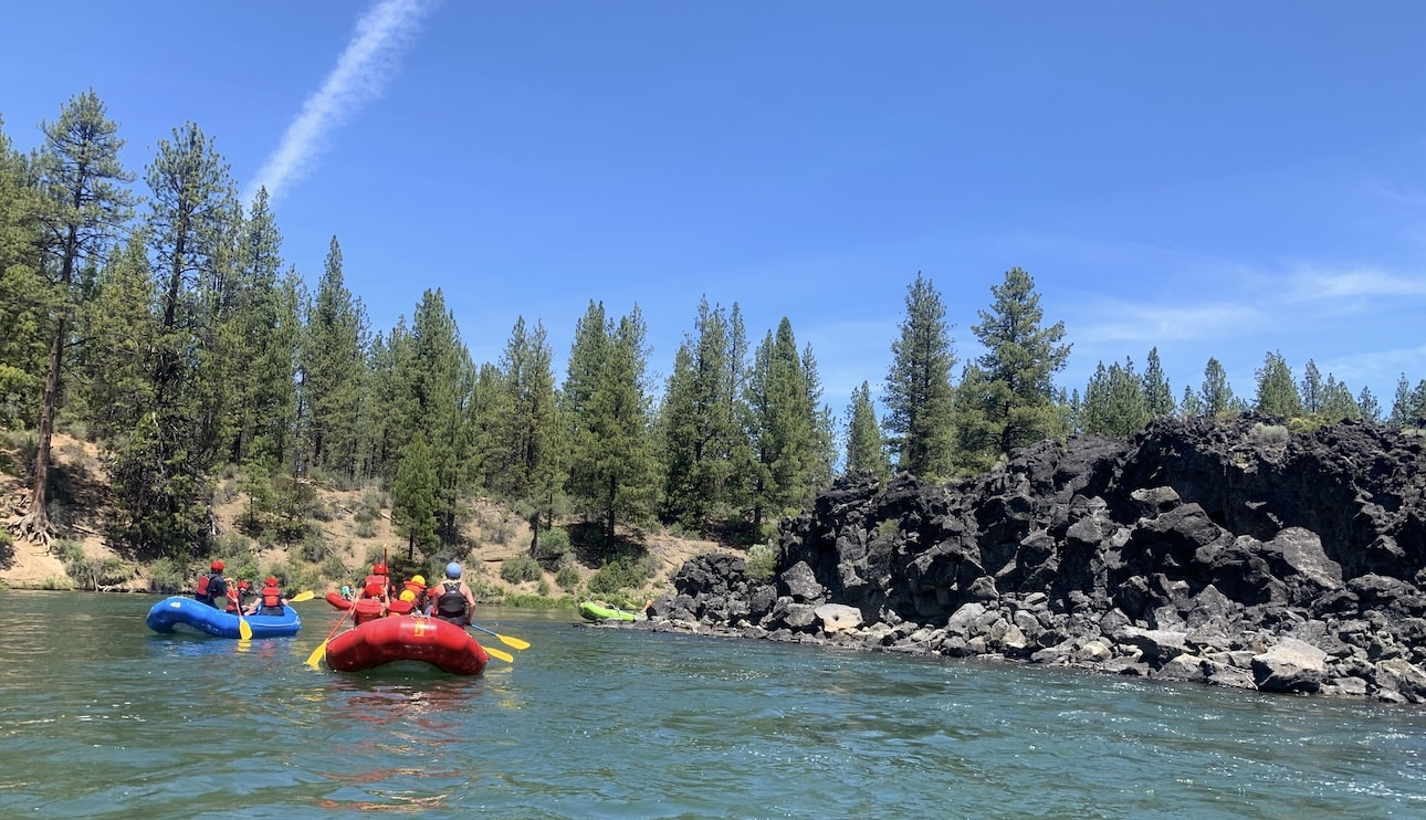 Rafters enjoy a sunny summer day on the Deschutes River.