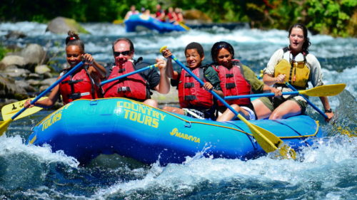 Rafters look excited before heading to the rapids.