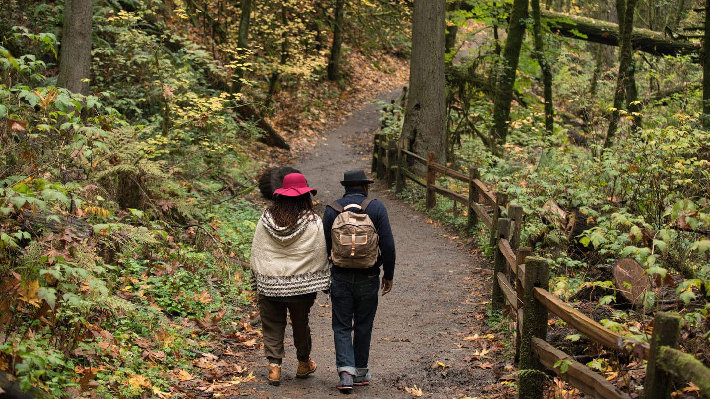 Two people walk down a tree-lined path in Forest Park.