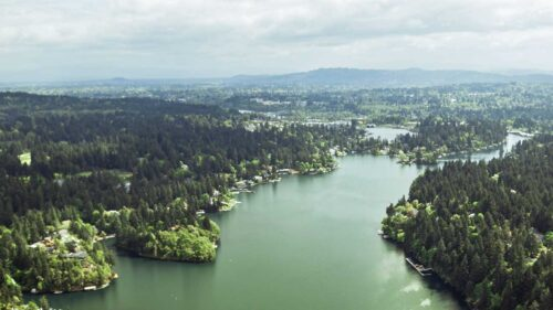 A bird's-eye view of the Willamette River reveals nature near the city.