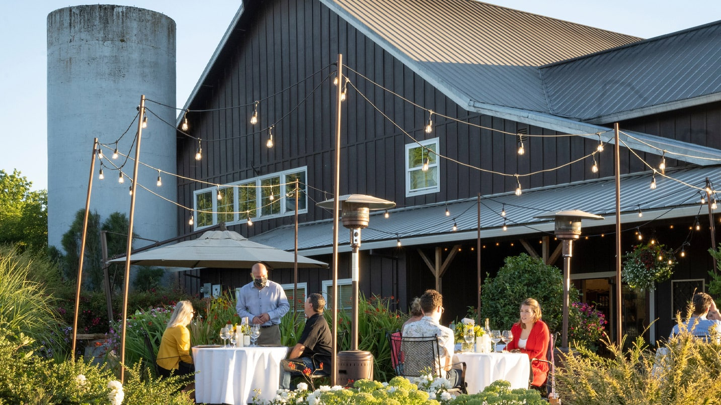 A barn converted into a tasting room is a bucolic setting at Laurel Ridge Winery.