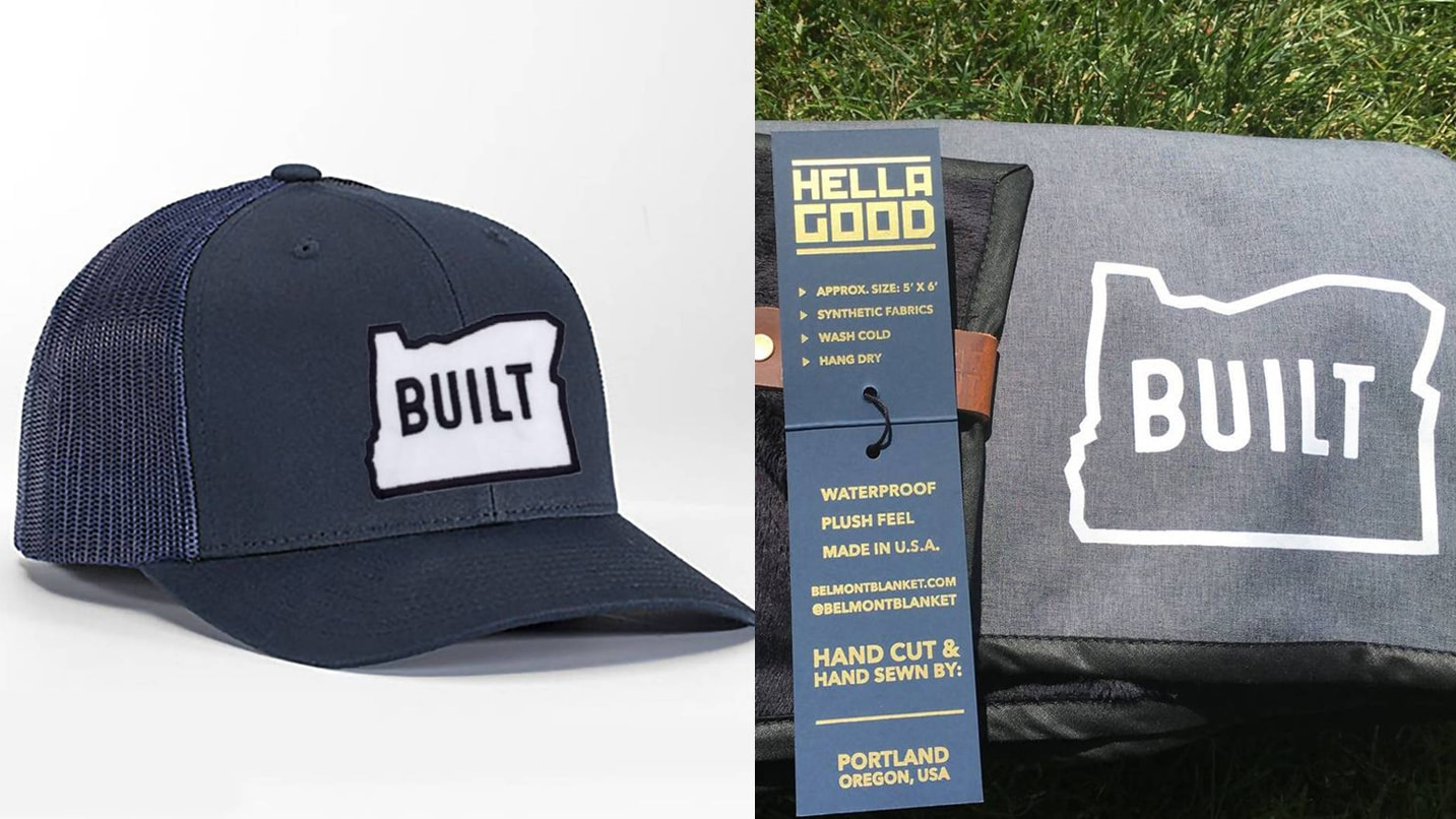 A Built Oregon hat is juxtaposed next to a shirt and flyer.