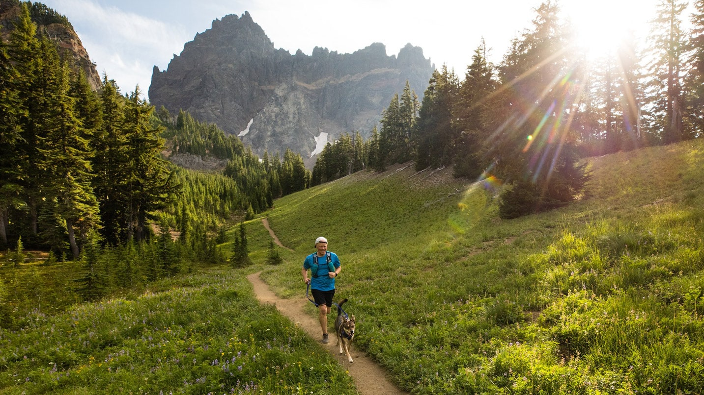 A trail runner and his dog jog down a dirt trail surrounded by peaks.