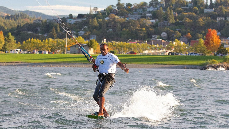 A man windsurfs on the Columbia River.