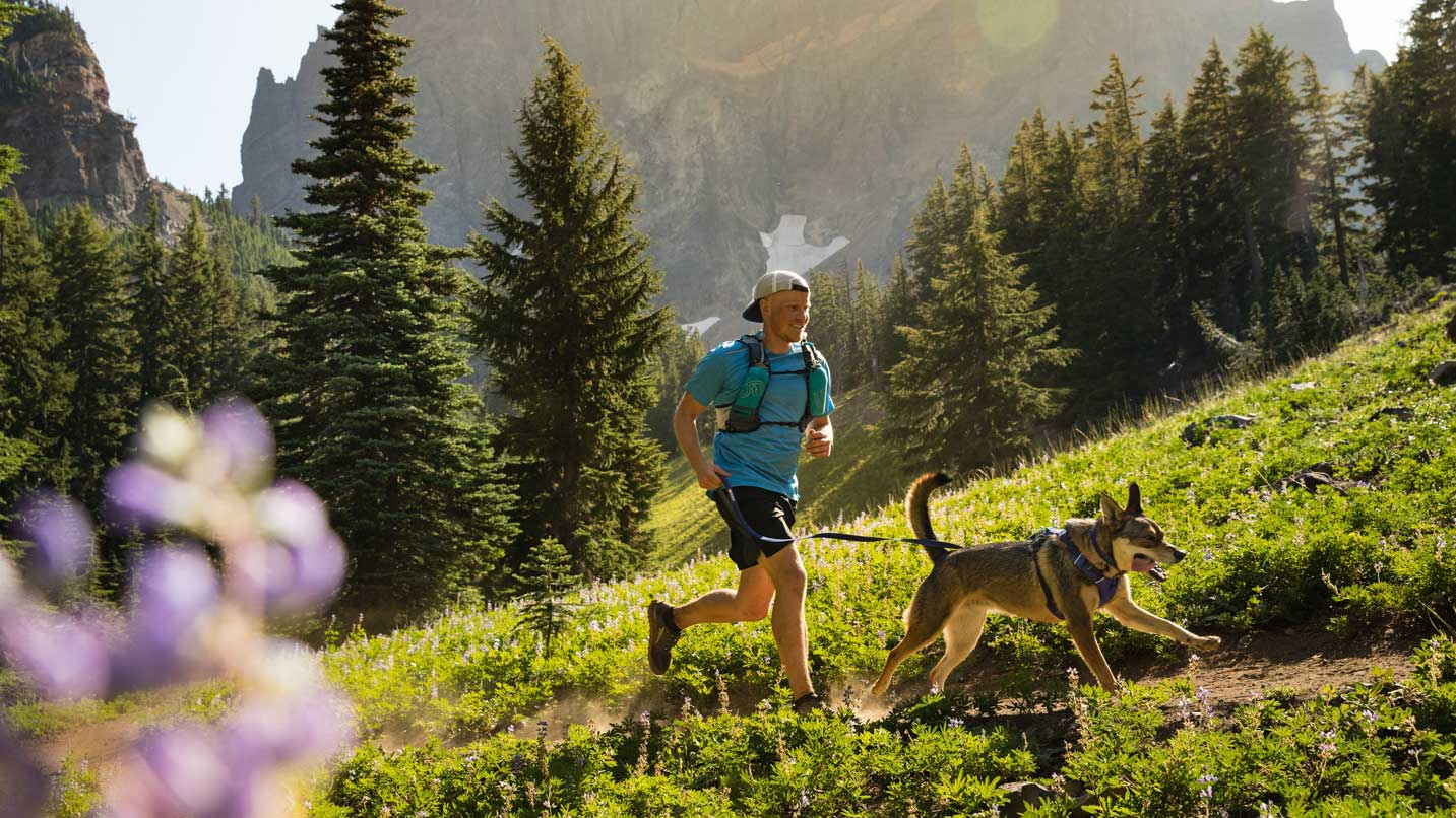 A hiker runs with their dog on a grassy trail.