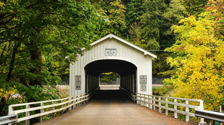 Fall foliage frames the Goodpasture Covered Bridge.