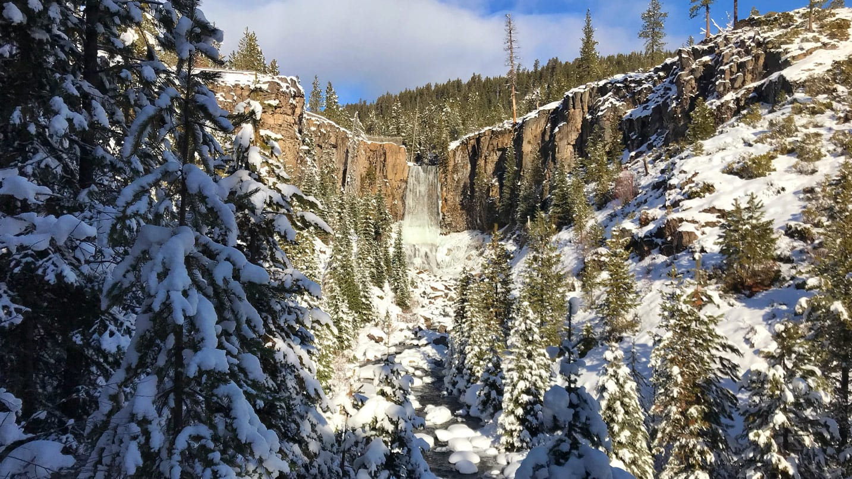 Snow covered the landscape around Tumalo Falls.