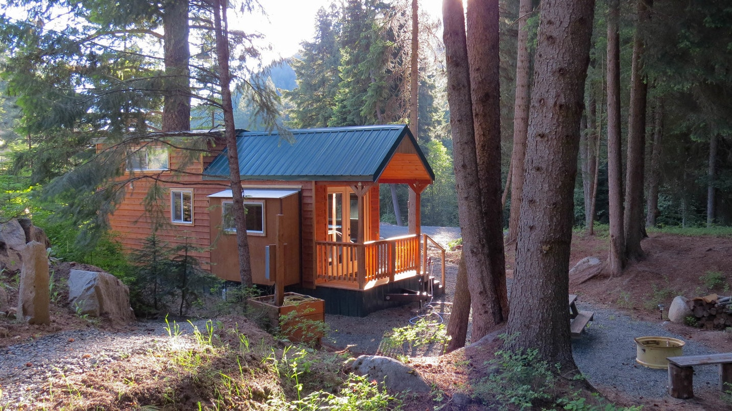 A modest cabin peeks from behind a tree.
