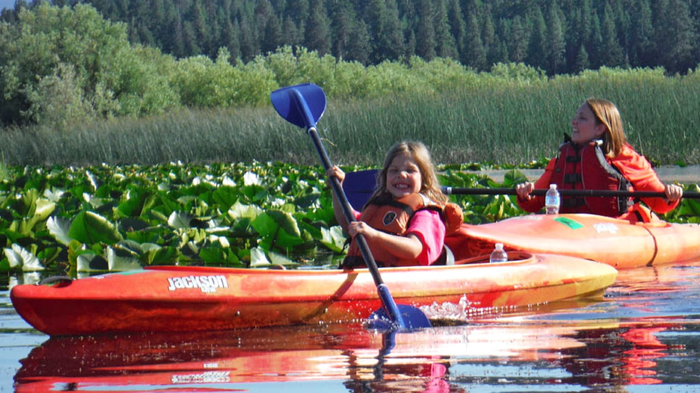 A young girl and woman paddling in two kayaks through a marsh