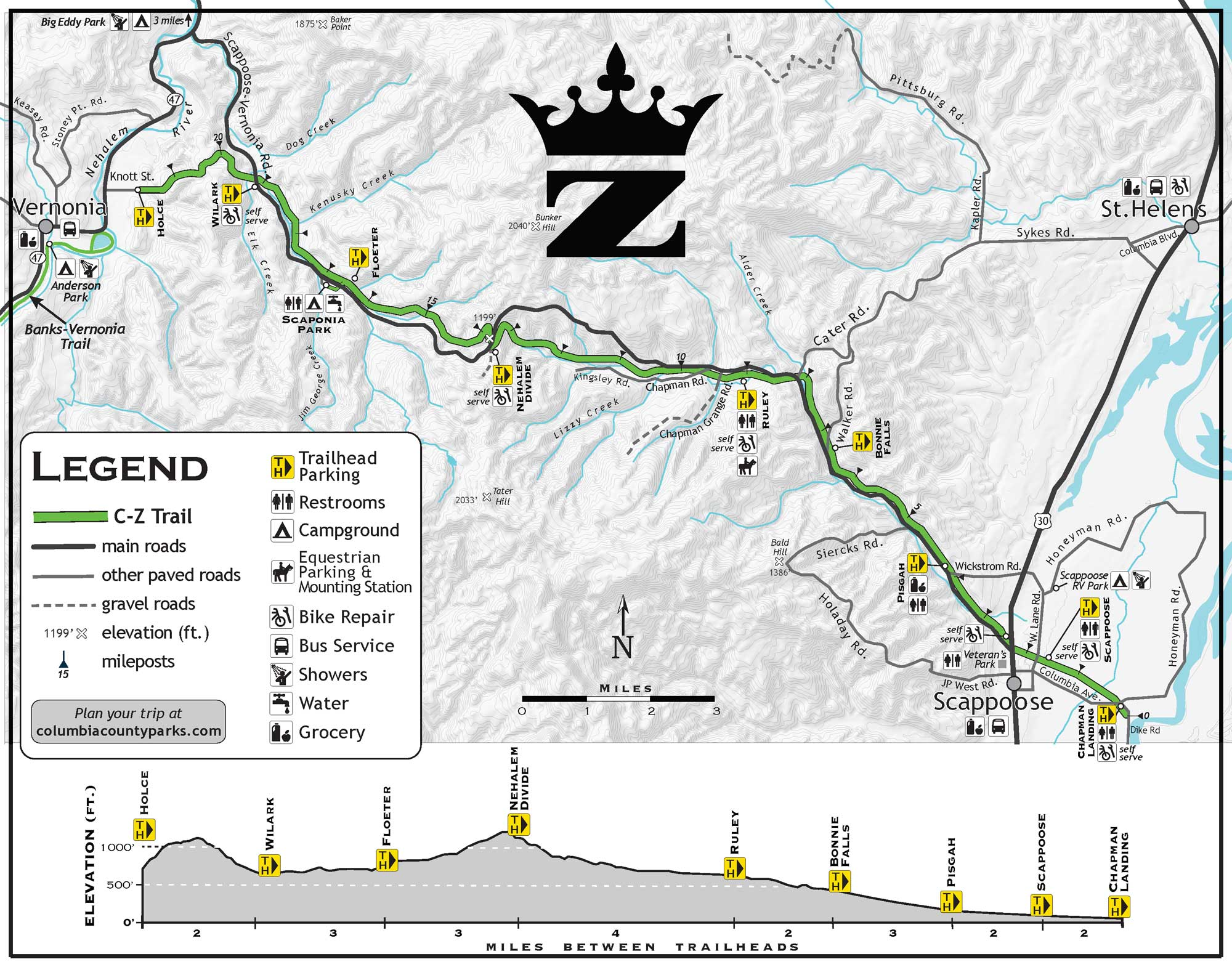 A map of the CZ Trail.