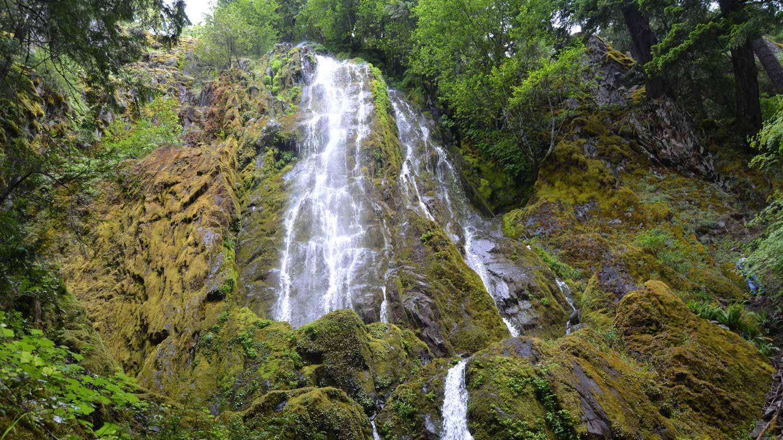 A waterfall cascades down mossy rock.
