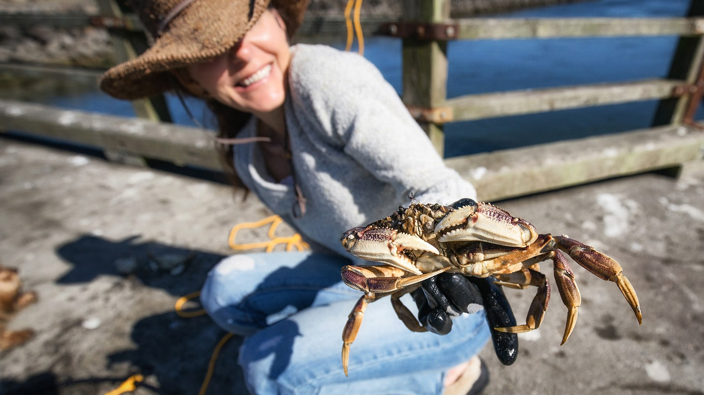 A woman crouching on a dock holding a crab