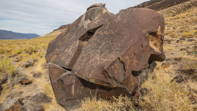 Petroglyphs on a rock outcropping