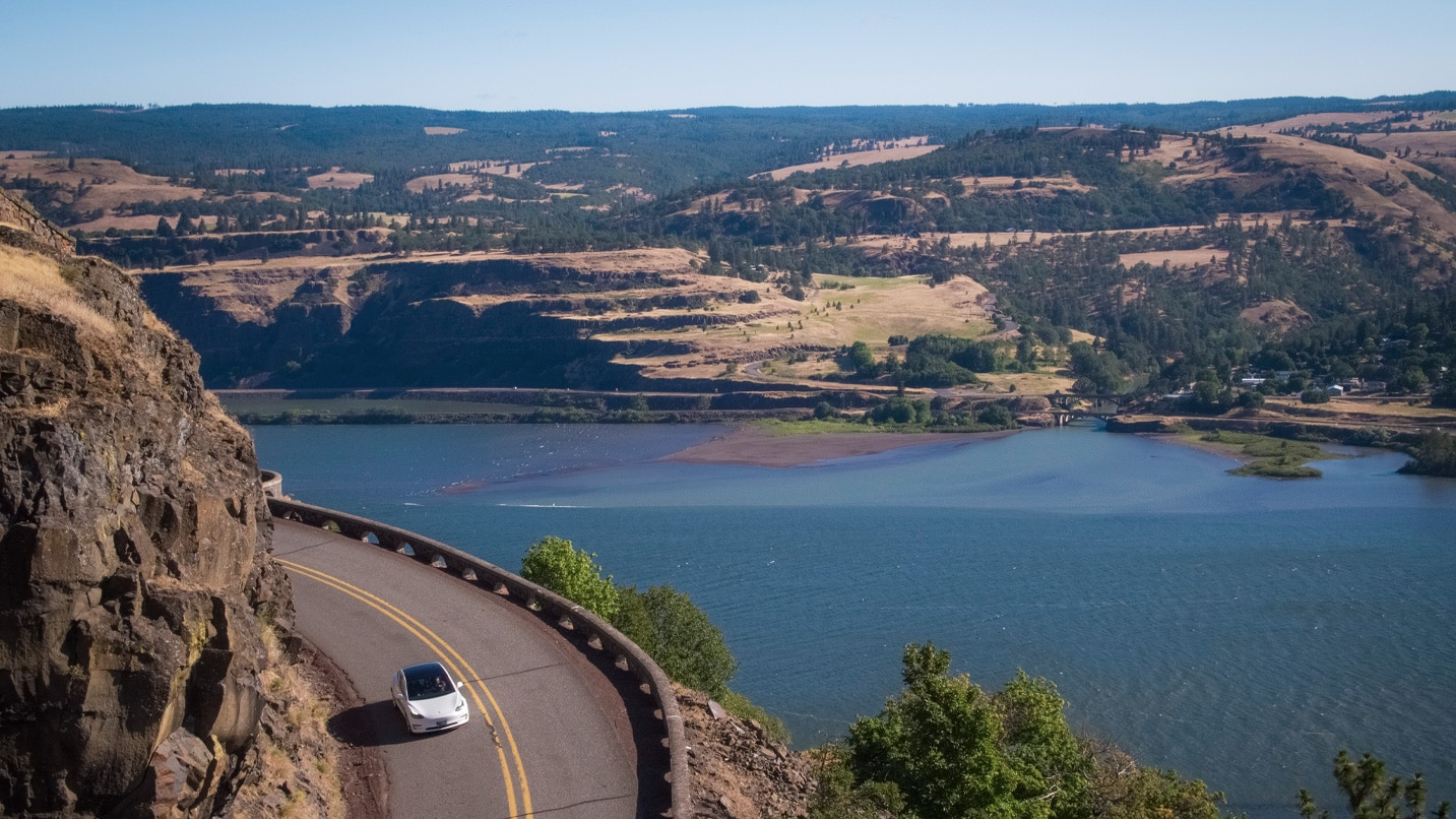 Car driving on the Columbia River Highway