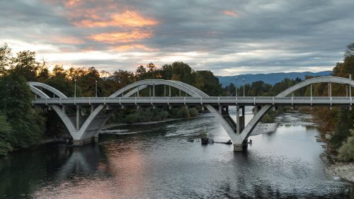 Bridge over the Rogue River at sunset