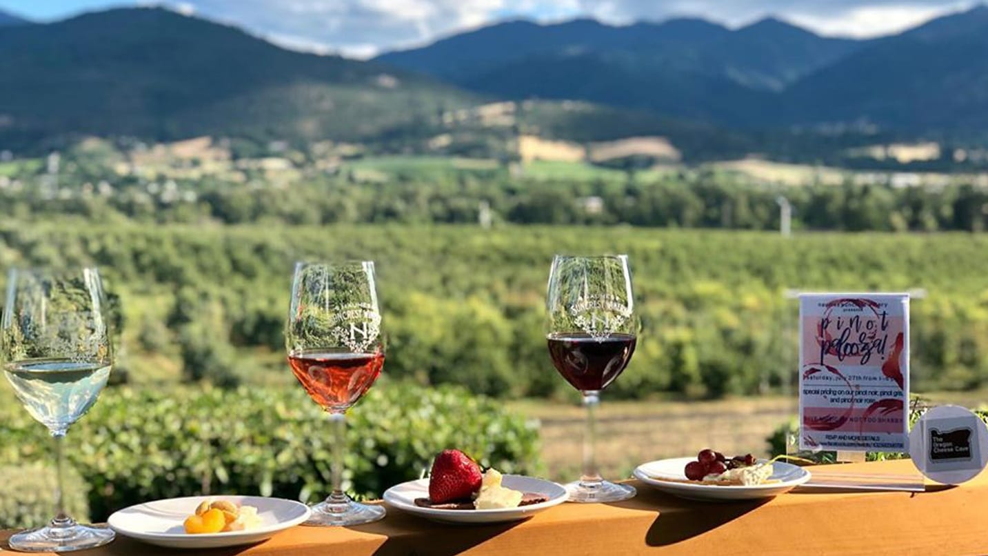 Three glasses of wine and snacks sit on a railing overlooking vineyards below and hills in the distance