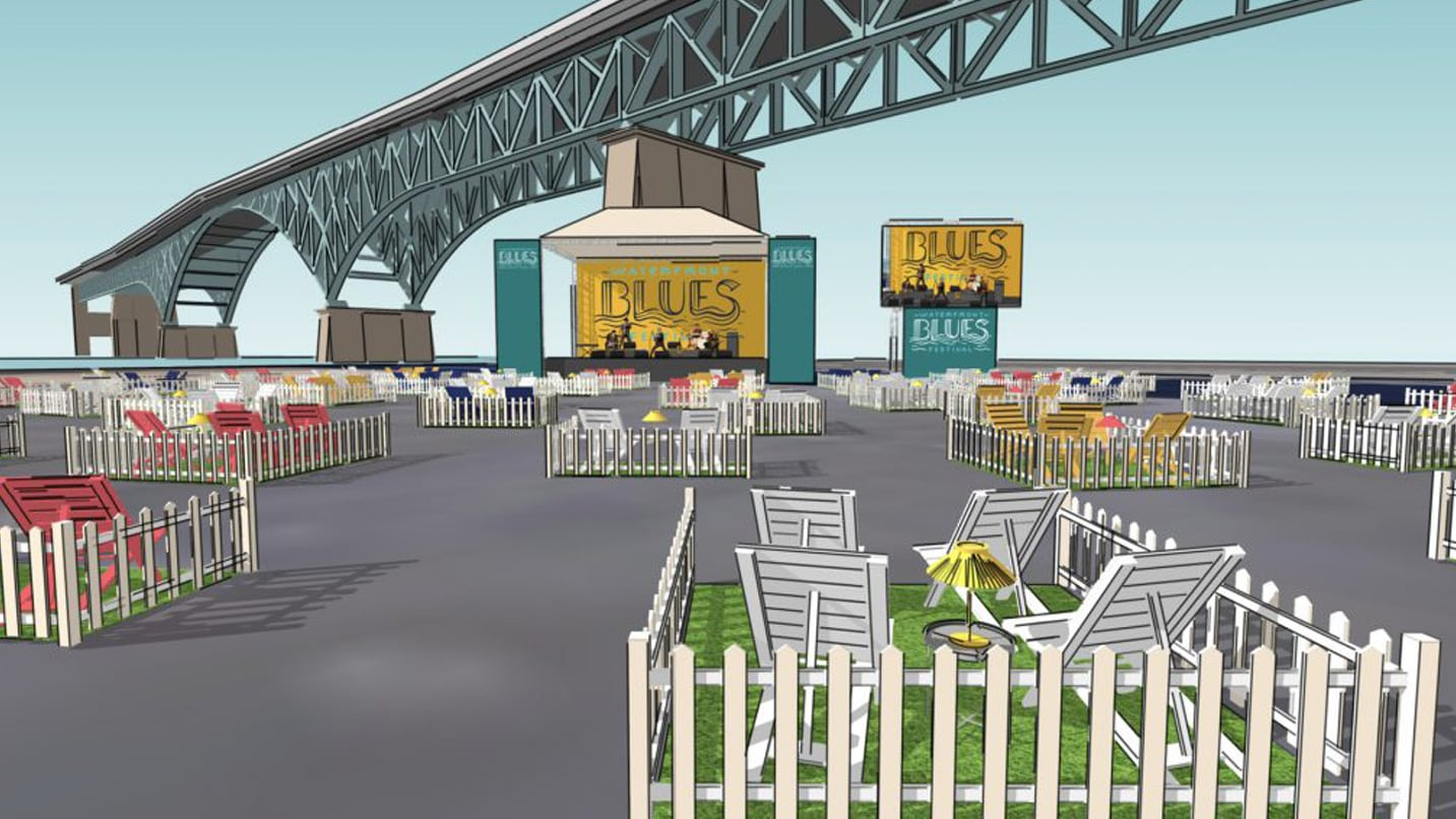 A graphic of how Zidell Yards will accommodate social distancing.