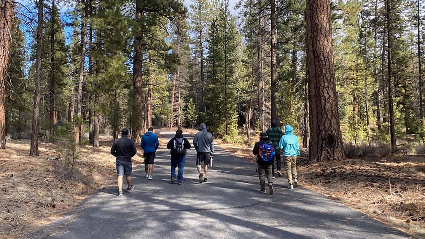 A group walks down a paved path in a forest.