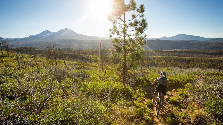 A cyclist pedals across a high-desert plain.