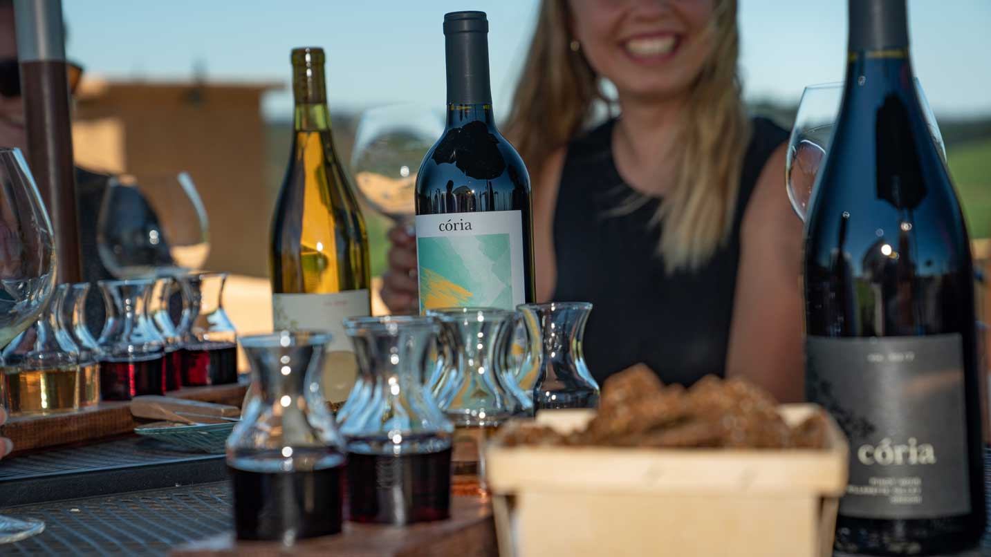 A woman smiles behind wine bottles and a tasting tray.