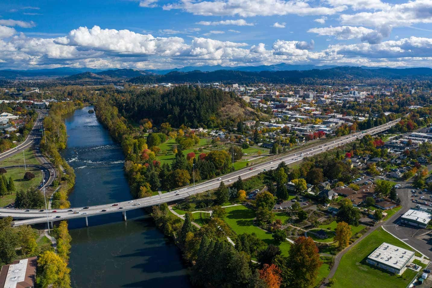 Aerial photo of Eugene and waterway.