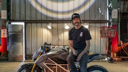 Thor Drake on his custom build, a collaboration with legendary Nike shoe designer Tinker Hatfield and Zero Motorcycles. Photo: Ian Whitmore