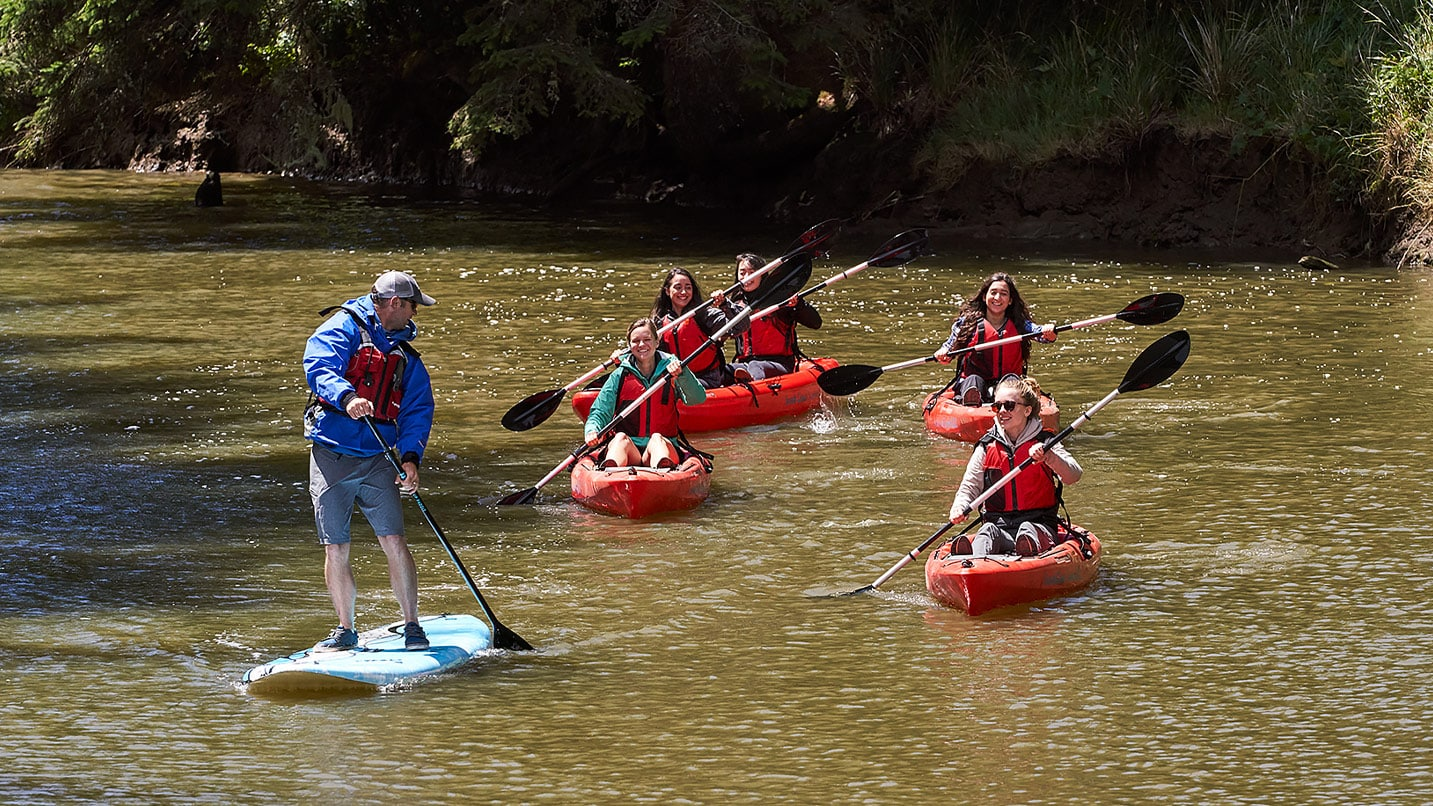 A paddleboarder leads a group of kayakers down a river