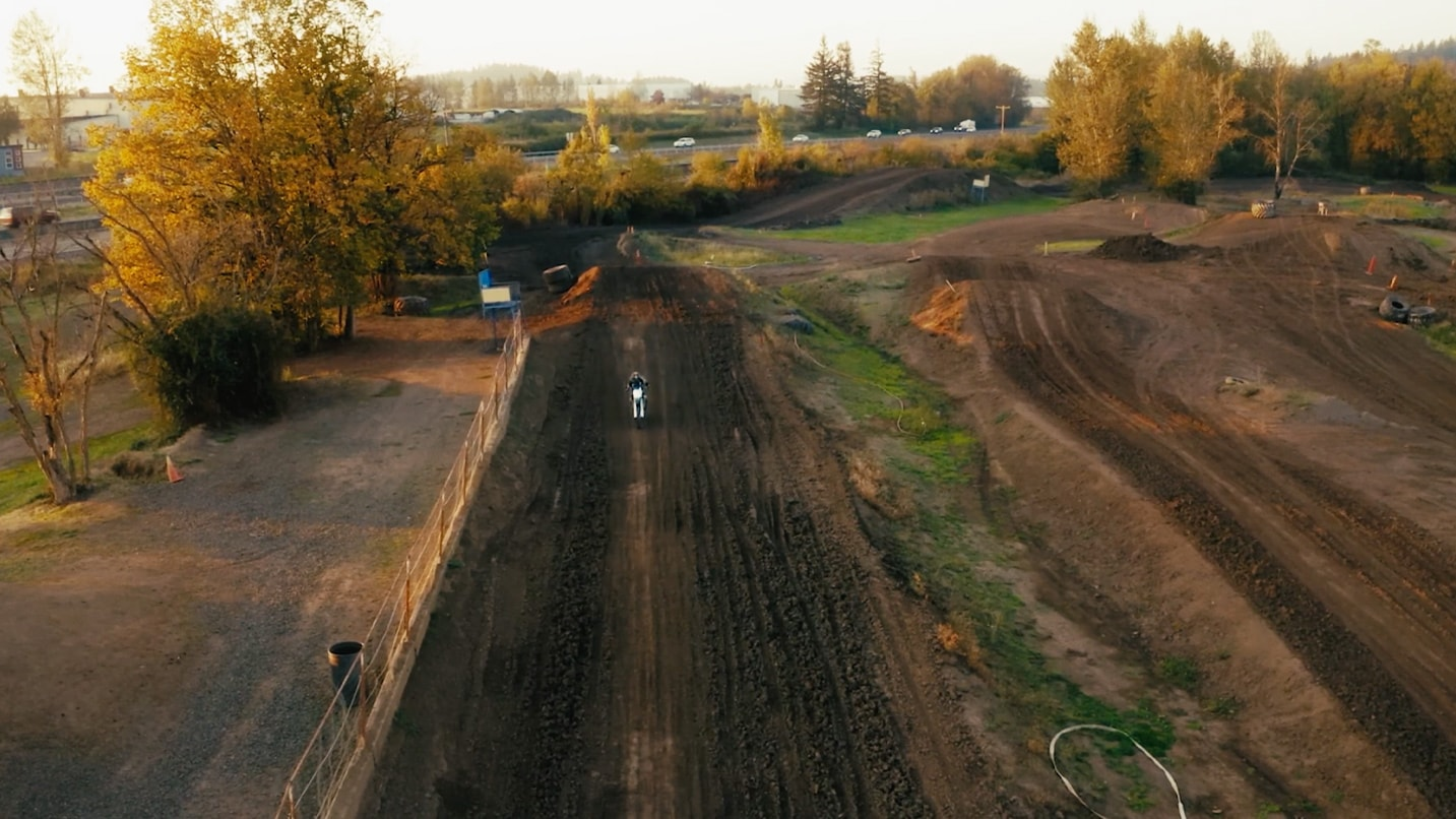 An arial view of a dirt bike course