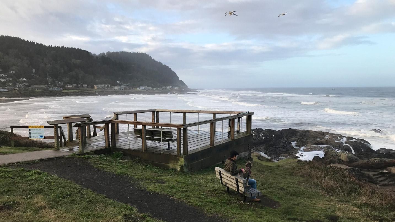 A platform overlooks the ocean