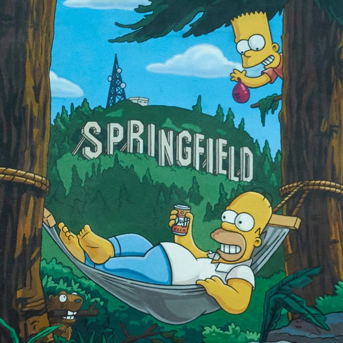 Illustration of Homer and Bart Simpson with Springfield sign in background