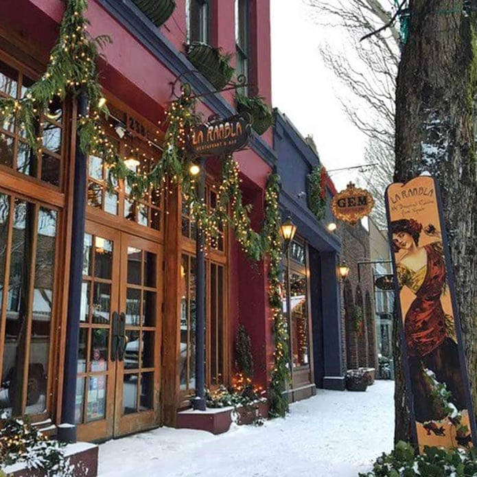 Businesses along main street McMinnville decked out for the holidays and dusting of snow.