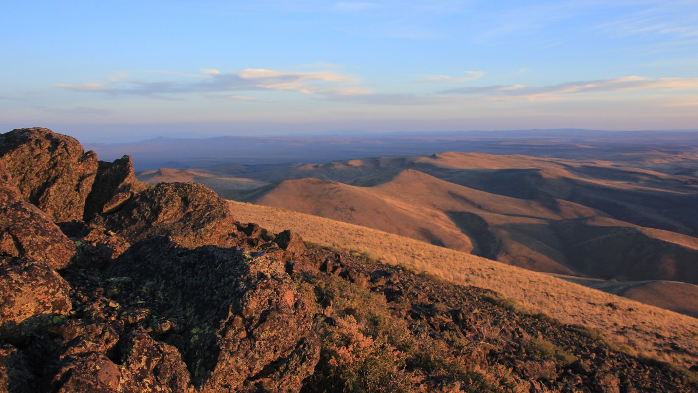 Aerial view of ridgeline at sunset